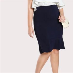 Skirts - Ruffle Hem Midi Skirt in Navy Blue